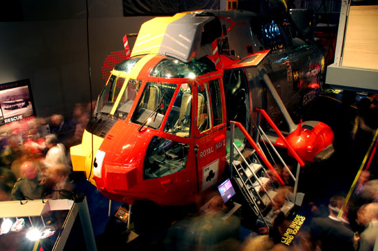 The climb aboard and explore Sea King helicopter at the Maritime Museum